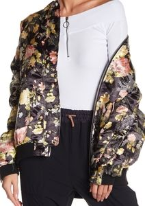 Free People Jaquard Oversized Bomber Jacket